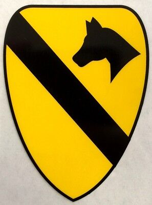 """US Army 1st Cavalry Division Shield Logo Clear Sticker Decal 2.75"""" X 3.75"""""""