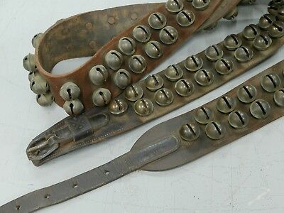 102 ANTIQUE BRASS SLEIGH HORSE BELLS by CHASD BOSTON 7 ft. stamped May 14, 1861