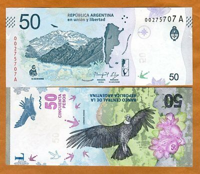 Argentina, 50 Pesos, ND (2018), P-New, A-Series, New Design UNC > Condor