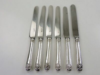 STORR 6 very rare SILVER FIDDLE, THREAD & HUSK TABLE KNIVES, London 1839 Chawner