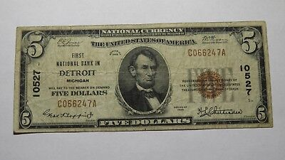 $5 1929 Detroit Michigan MI National Currency Bank Note Bill Ch. #10527 VF!