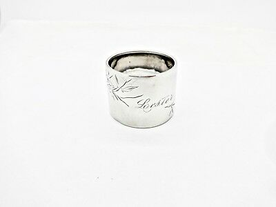 Large Antique Floral Engraved Sterling Silver Napkin Ring,lester,nice Shape