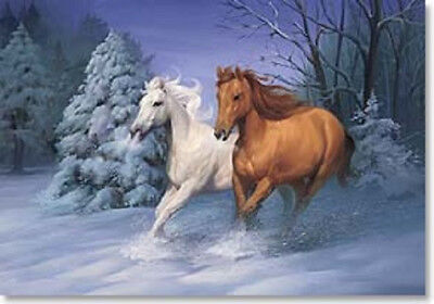 Xmas Cards TWO GALLOPING HORSES in the Snow Holiday Cards 12 per pkg
