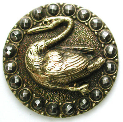 BB Antique Brass Button Swimming Swan Design w/ Cut Steel Border - 1 & 1/16""