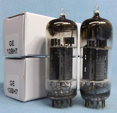 2-GE General Electric 12BH7 Vacuum Tubes Gray Plates Halo D Getter