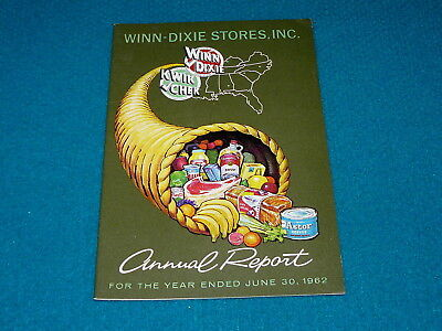 1962 Annual Report : WINN DIXIE Grocery STORE @ Vintage STOCKHOLDERS Stock