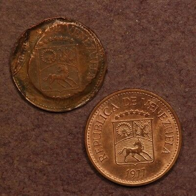 Venezuela 5 Centimos 1977 Copper Clad Steel - Error Coin & Regular Example - 2pc