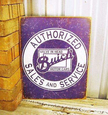 Buick Authorized Sales Service Value in Head Round Metal Tin Sign Vintage Garage