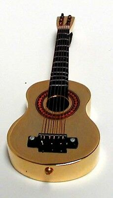 "Acoustic Folk Guitar gold plated collectible miniature replica 6"" w/stand & case"