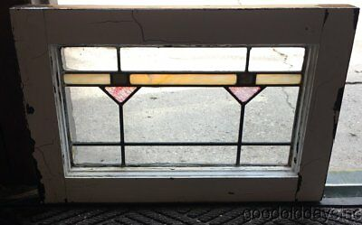 "Small Antique Stained Leaded Glass Transom Window 20"" by 13""  Circa 1925"
