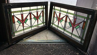 """Pair of Antique Chicago 1920's Stained Leaded Glass Transom Windows 34"""" by 19"""""""