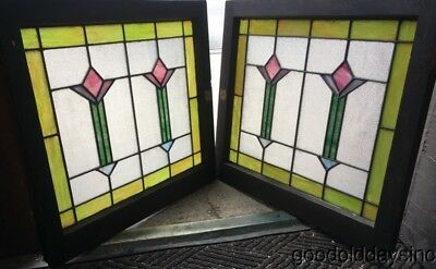 """Pair of Antique Chicago Bungalow Stained Leaded Glass Windows 28"""" by 25"""""""