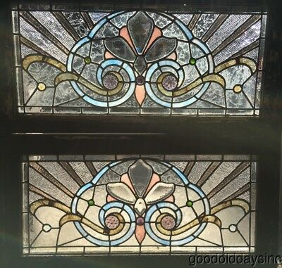 Pair of Beautiful 1890's Stained & Beveled Glass Transom Window w/ Jewels