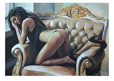 Limited Edition Print By Ellectra - Nude Erotic Oil Rose Lesbian Interest