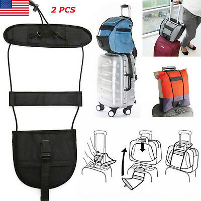 2x Travel Luggage Bag Bungee Backpack Suitcase Belt Carrier Strap Easy to Carry