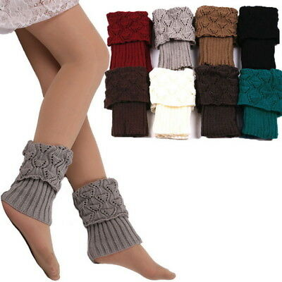 Womens Girls Knit High Knee Leg Warmers Leggings Thigh Boot Cuffs Socks