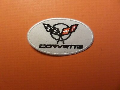 """"""" CORVETTE""""  white & black Embroidered 2 x 3-1/2 Iron On Patch"""
