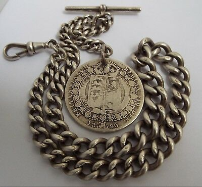 HANDSOME HEAVY 61g ENGLISH ANTIQUE 1887 SOLID STERLING SILVER ALBERT WATCH CHAIN