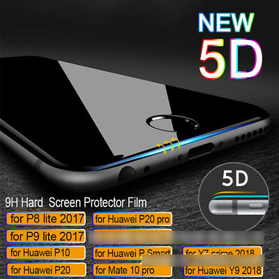 5D Curved Tempered Glass Protector Film For HUAWEI P8 P9 P10 P20 Lite Plus Pro