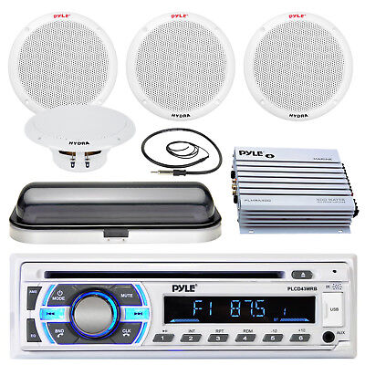 "3/"" Flush Mount RV Speaker Set Universal Housing Kit Pyle Bluetooth USB Radio"