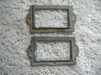 TWO ANTIQUE SALVAGED BRASS DRAWER FRONT FILE CARD HOLDERS - 1-1/4 x 2-3/8 - GOOD