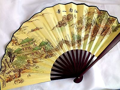 CHINESE L 33cm LANDSCAPE YELLOW SILK HAND WALL FAN MEN BIRTHDAY STAG PARTY S2