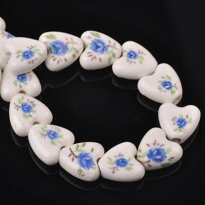 NEW 10pcs 14mm Ceramic Heart Flowers Loose Spacer Beads Findings Pattern #24
