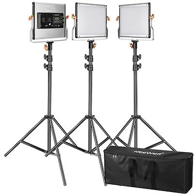 Neewer 3pcs Studio Dimmable Bi-color 480 LED Video Light and Stand Lighting Kit