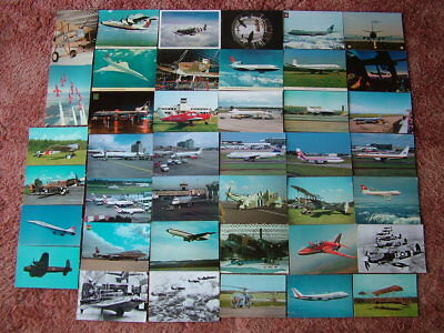 41 Mainly Unused Postcards of AEROPLANES, AIRCRAFT & AIRPORTS.