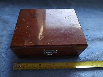 Vintage Jewelers Brass Scales Weights  Wood Box