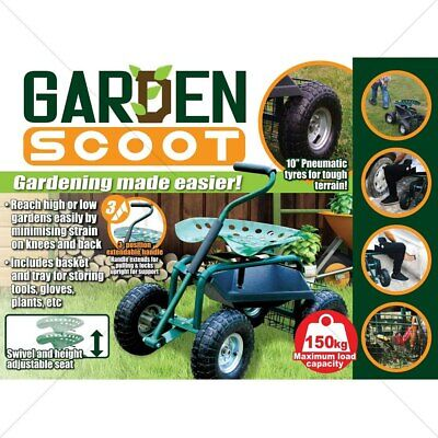 NEW Portable Garden Scooter Seat No Kneeling Store Tools Heavy Duty Trolley