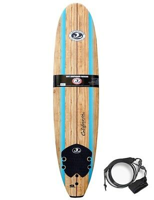 "CBC Soft Surfboard Wellenreitbrett 8'0"" Malibu Wooddeck inkl. Finnen & Leash"