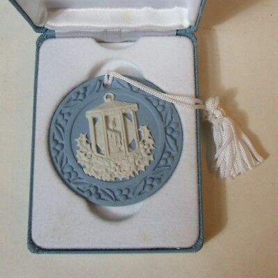 Wedgwood Annual Blue Jasper Ware Christmas Ornament Candle Lantern in Box 1998