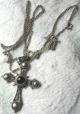 Ornate Sterling Silver And Onyx Hallmarked Pendant On 24 Inch Chain Xaj891-8