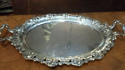 705g MASTERWORK NOVEAU XIX-XX HANDLE TRAY CARVING FLOWERS DESIGN 800 SILVER