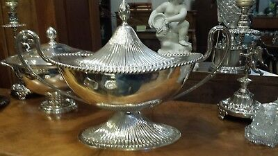 1065g COLLECTION BIG SOUP TUREEN FLUTTED CARVING HANDLE STERLING SILVER:PASGORCY