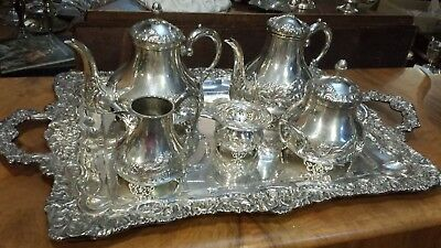 2655g STERLING SILVER RICH FRENCH COLONIAL STYLE EMBOSSED COFFEE TEA SET 6