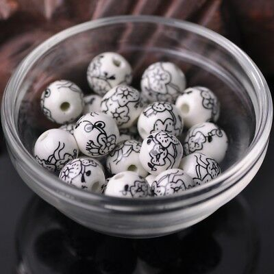 NEW 20pcs 12mm Round Ceramic Smooth Flower Pattern Loose Spacer Beads  #17