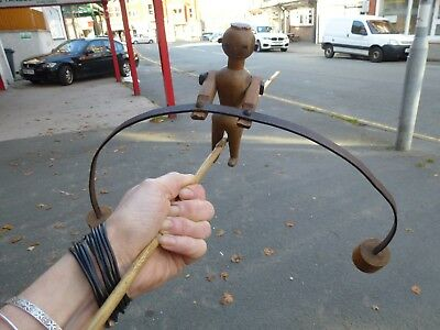 Rare Antique wood Metal Tightrope walking balancing Toy Sculpture 1800's 1900's