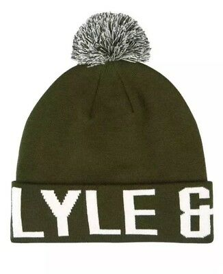 ed2005a0678 LYLE AND SCOTT Block Text Logo Bobble Hat in Woodland Green - beanie ...