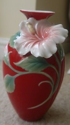 "Franz porcelain hibiscus flower island beauty red 7"" vase"