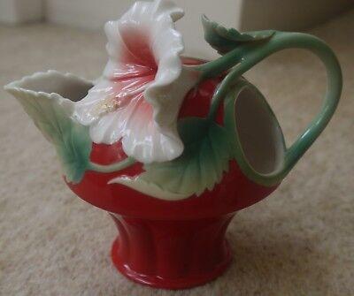 Franz porcelain hibiscus flower island beauty red creamer