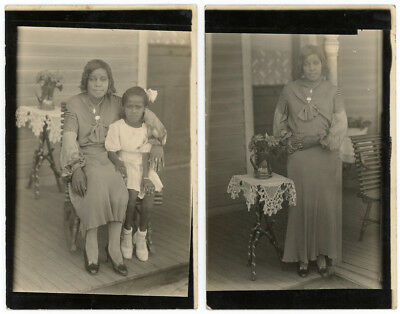 Adorable Black Mother & Daughter Porch Rppc Real Photo Postcard Plus Mom Alone