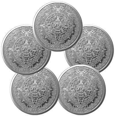 Lot of 5 Golden State Mint Aztec Calendar 1oz Silver Rounds SKU55734