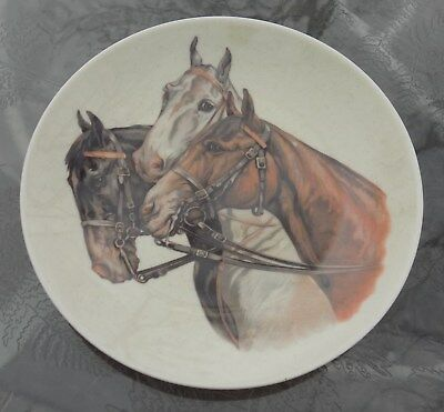 """Vintage 6 1/2"""" Diameter Plate Featuring 3 Horses Head To Neck In Bridle Clean"""