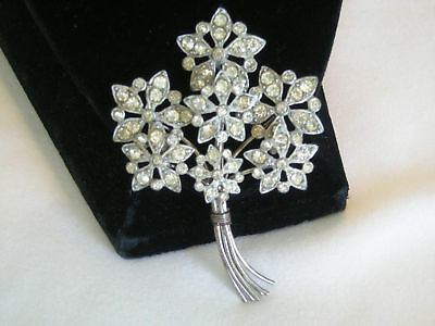 "Sparkling ""ART DECO"" Pot Metal Floral Brooch Clear Rhinestone & Wire Vintage"