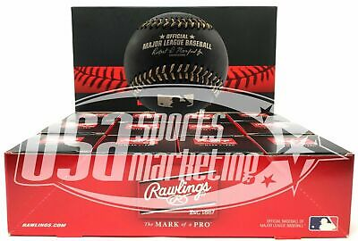 (12) Rawlings Black Official Major League Game Baseball Manfred Boxed - Dozen