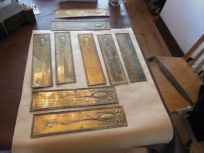9 x Antique Ornate Brass Finger Push Plates