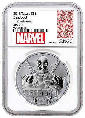 2018 Tuvalu Deadpool 1 oz Silver Marvel Series $1 NGC MS70 FR Marvel SKU55688