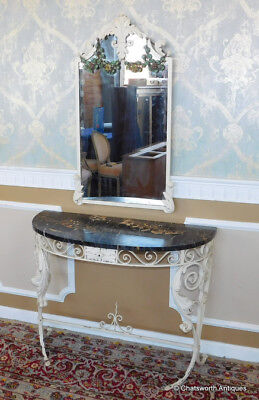 Marble Top Wrought Iron Demilune Hallway Console Table Table w/ Mirror c1930s
